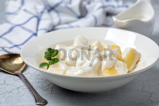 Traditional cottage cheese gnocchi (lazy dumplings).