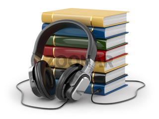 Audiobook concept. Headphones and books