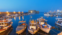 Fishing boats in the harbour near the Koules Fortress in Heraklion