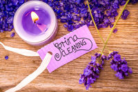 Label With Calligraphy Spring Cleaning, Pruple Lavender, Candlelight