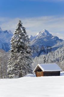 winter landscape nearby castle Elmau in Bavaria