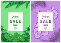 Grüner und lila Sommerverkaufshintergrund