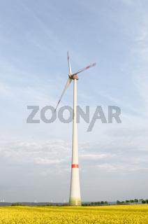 Windkraftanlage auf einem Rapsfeld mit bewegten Flügeln