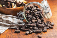 Cocoa beans in jar