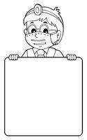 Doctor holding blank panel monochrome image 1