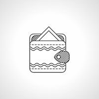 Black line vector icon for wallet with card