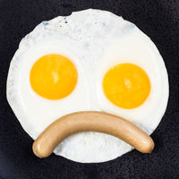 top view of fried eggs with sausage close up