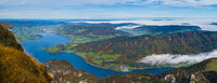 Picturesque autumn Alps mountain lakes view from Schafberg viewpoint, Salzkammergut, Upper Austria.