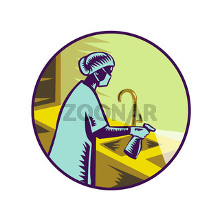 Nurse Spraying Disinfectant Retro