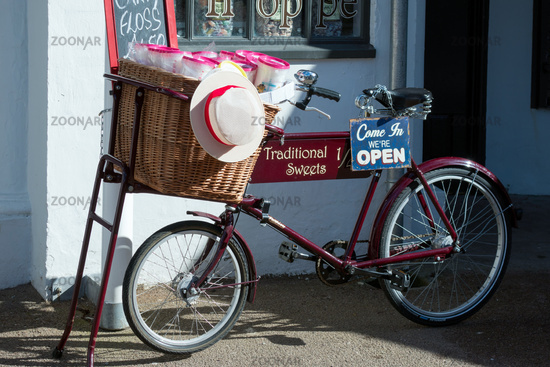 View of an Old Tradesman Bicycle outside a Sweet Shop in Penarth
