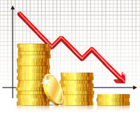 Arrow of the chart falls down and several stacks of gold coins.