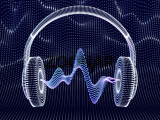 3D headphone with sound waves on dark background.