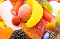 Close up of Assortment candies. Colorful jellies background