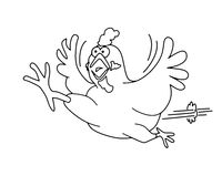 running chicken outline graphic for colouring books
