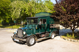 MOKRA GORA, SERBIA - SEPTEMBER 03: Vintage car in Mokra Gora on September 03, 2015 in Mokra Gora, Serbia