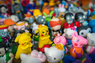 Yellow pikachu and toy souvenirs for sale