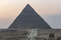 The Pyramid of Khafre and the Great Sphinx of Giza in the foreground