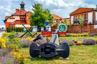 Anchors and nautical equipment, flower decoration for 70th anniversary of Szczecin Shipyard