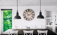 Retro clock over a table