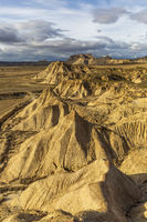 Aerial view of Bardenas Reales semi-desert natural region at sunset in Spain