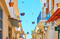 Street in Rethymno decorated with lampshades