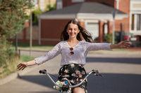 happy girl cyclist