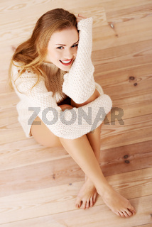 Picture of a careless young caucasian woman