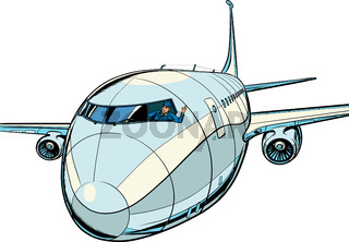 the plane is a passenger liner. Travel and air transportation