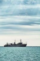 Military Ship in the Sea