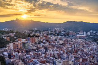 Barcelona Spain, high angle view city skyline sunset from Bunkers del Carmel