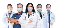Variety of Medical Healthcare Workers Wearing Medical Face Masks Amidst the Coronavirus Pandemic