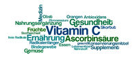 Word Cloud on a white background - Vitamin C (German)