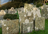 Old gravestones in parish church of St Morwenna at Morwenstow
