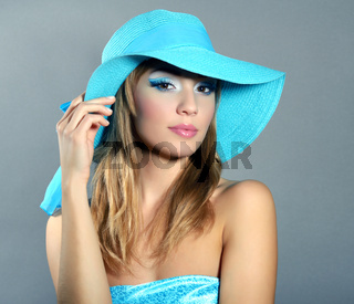 girl in hat with beautiful make-up