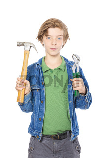 male teenager holding some working tools, isolated on white