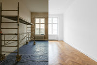 living room renovation, before and after home refurbishment -
