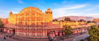 Hawa Mahal palace, full view panorama, Jaipur, Rajasthan, India