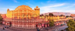 Hawa Mahal palace, full view panorama, Jaipur, Rajasthan, India