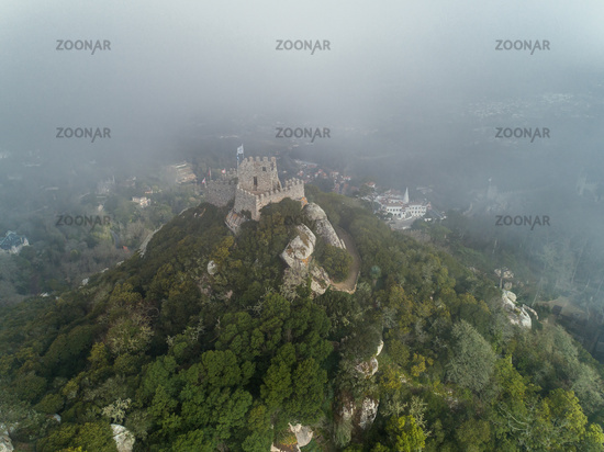 Moorish Castle in fog Portugal