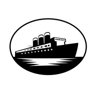 Vintage Passenger Boat or Ocean Liner Oval Retro Black and White