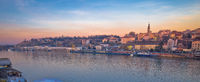 Belgrade Danube river boats and cityscape panoramic view