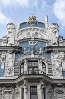 Jugendstilhaus in der Elisabethstraße in Riga, der Hauptstadt von Lettland