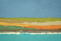 sky, sea and hills abstract landscape created with handmade Indian paper