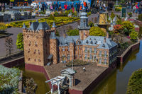 The Hague, Netherlands - April 26, 2017: De Haar castle in Madurodam miniature park in The Hague