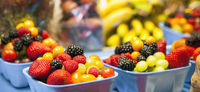 Berries and Fruits in a Public Market in Vancouver Canada
