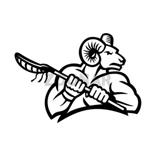Bighorn Ram Mountain Goat or Sheep Holding a Lacrosse Stick Black and White