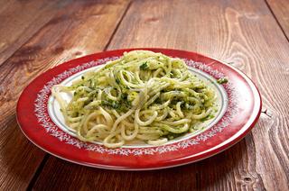 Italian pasta spaghettPesto Genovese