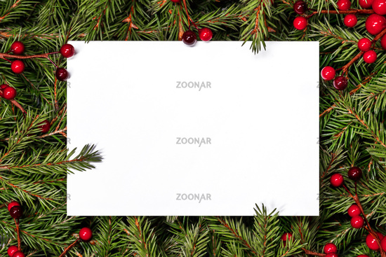 Christmas card over fir tree branches