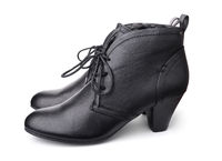 Side view of black leather women's shoes