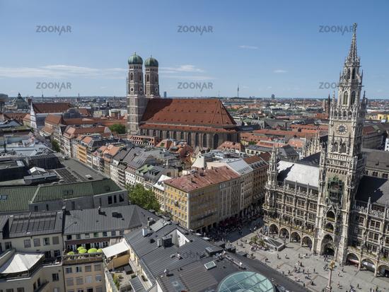 Panoramic View from Church Tower Alter Peter to Dom zu unserer Lieben Frau and Town Hall at Marienplatz - Munich